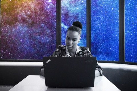 Laptop working galaxy