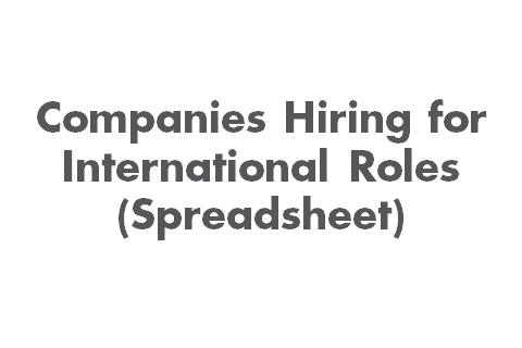 Companies Hiring for International Roles